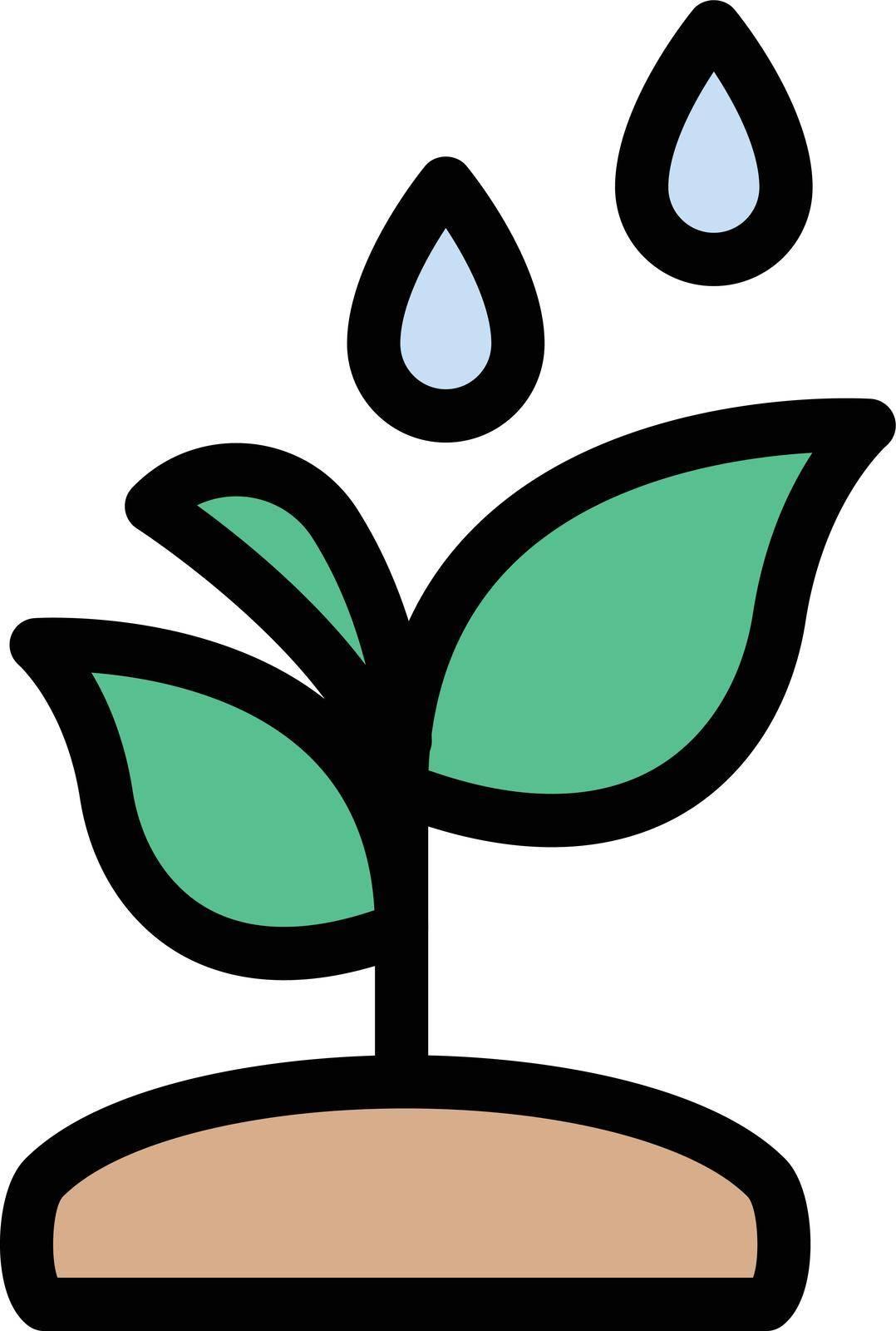 plant vector color line icon