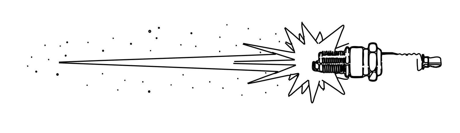 Outline drawing of a firing auto spark plug