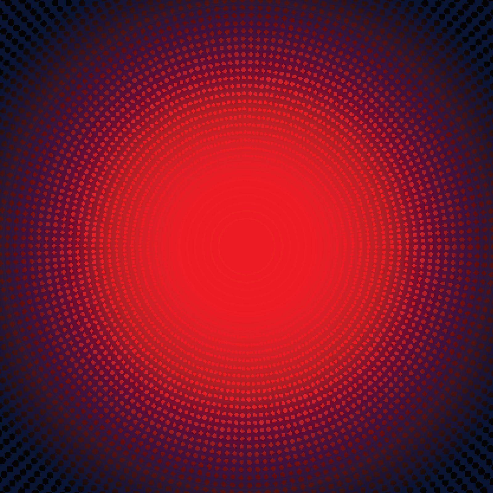 Technology digital concept futuristic red neon radial light burst effect on dark background. Dots pattern elements circles halftone style. Vector illustration