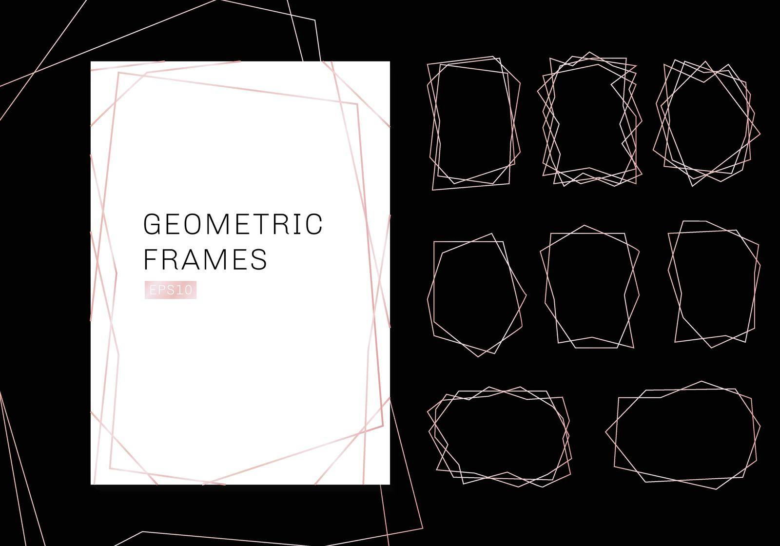 Pink gold geometric polyhedron frames collection. luxury templates art deco style for wedding invitation. Decorative patterns modern abstract elements. Vector illustration