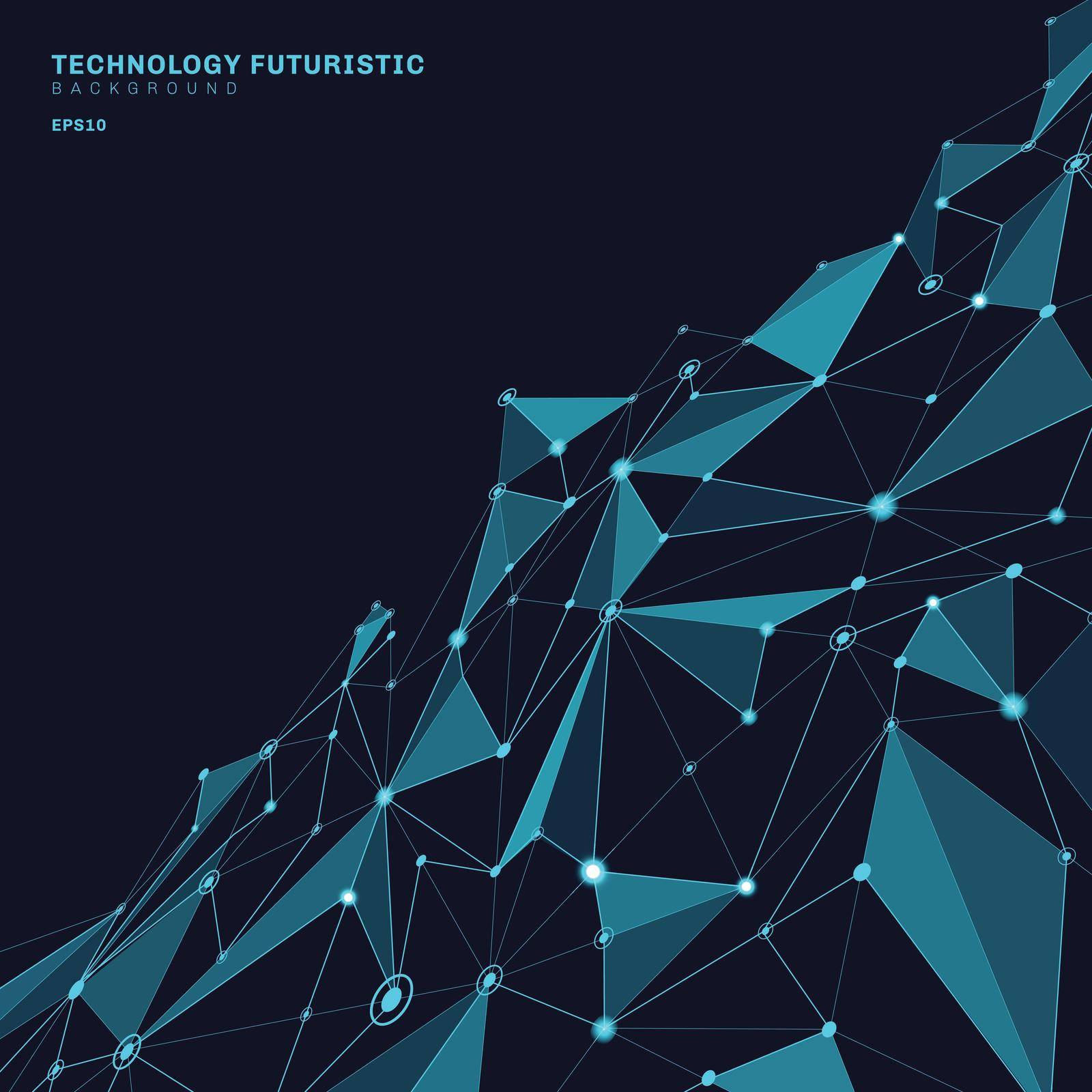 Abstract polygonal shapes on dark blue perspective background consisting of lines and points in the form of planets and constellations technology concept. Digital internet connection. Vector illustration