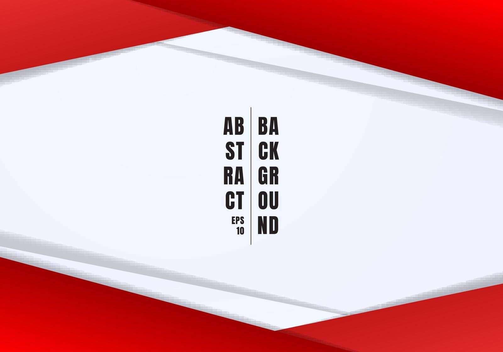 Abstract template header and footers red and gray geometric triangles contrast white background with copy space. You can use for corporate design, cover brochure, book, banner web, advertising, poster, leaflet, flyer. Vector illustration