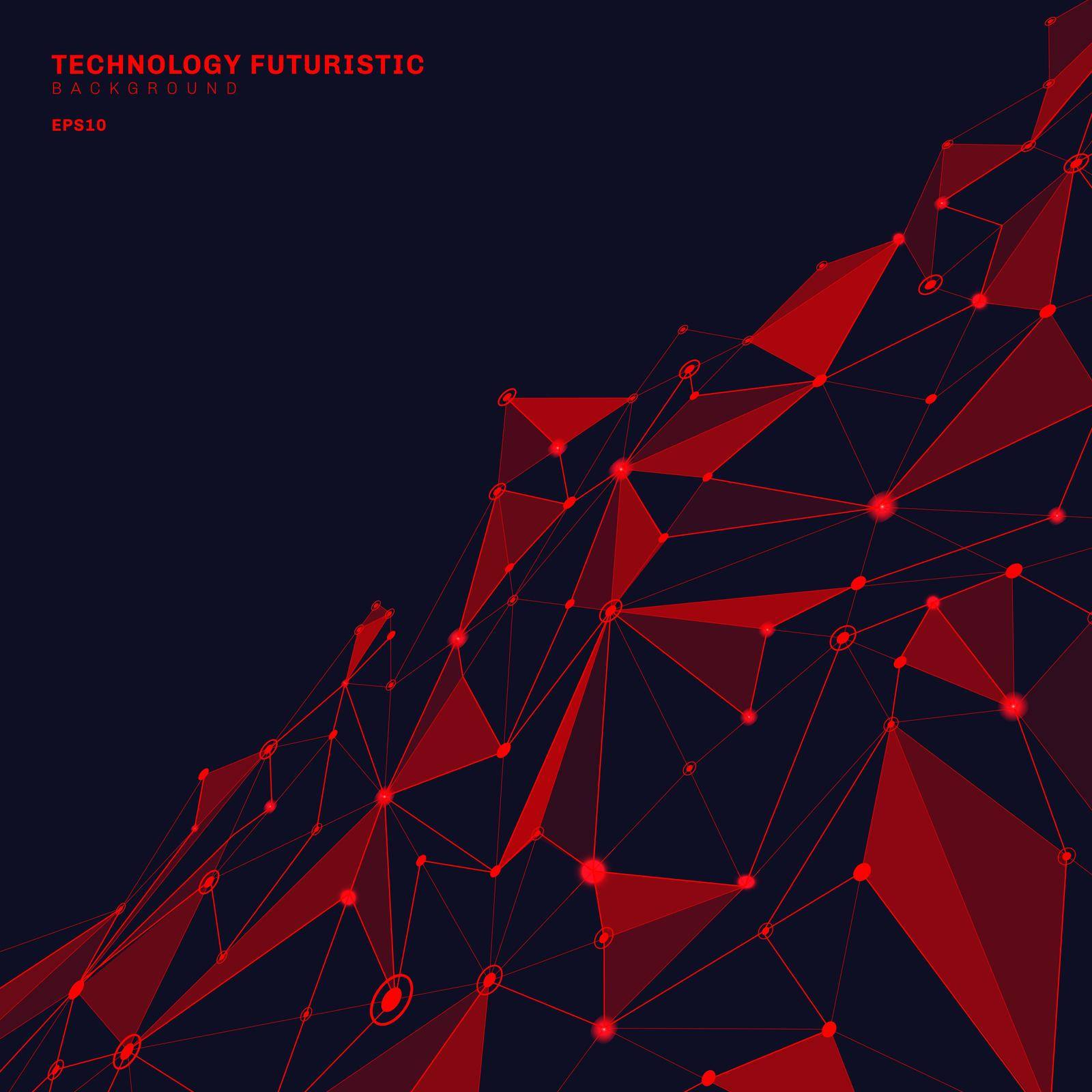 Abstract red polygonal shapes on dark blue perspective background consisting of lines and points in the form of planets and constellations technology concept. Digital internet connection. Vector illustration