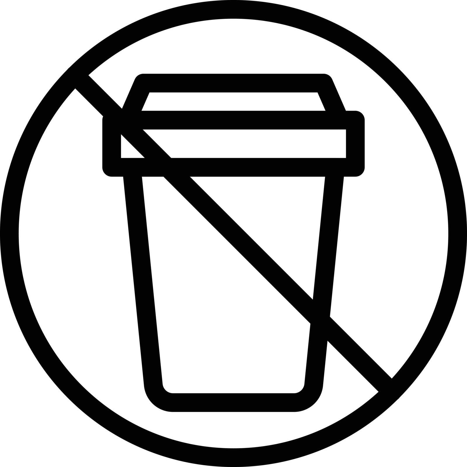 stop garbage vector thin line icon