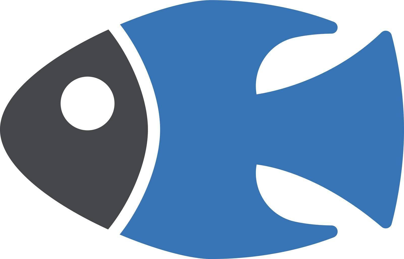 fish vector glyph colour icon