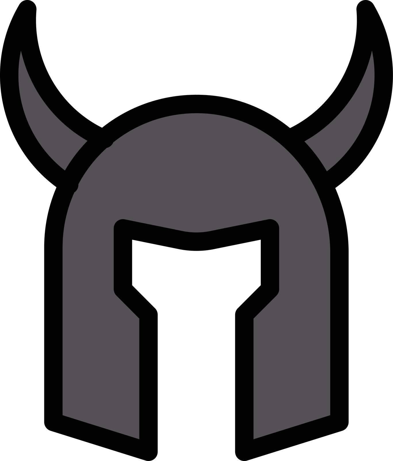 helmet warrior vector line colour icon