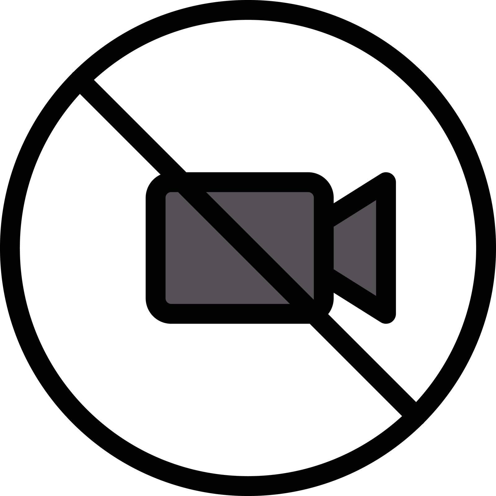 video not allowed vector line colour icon
