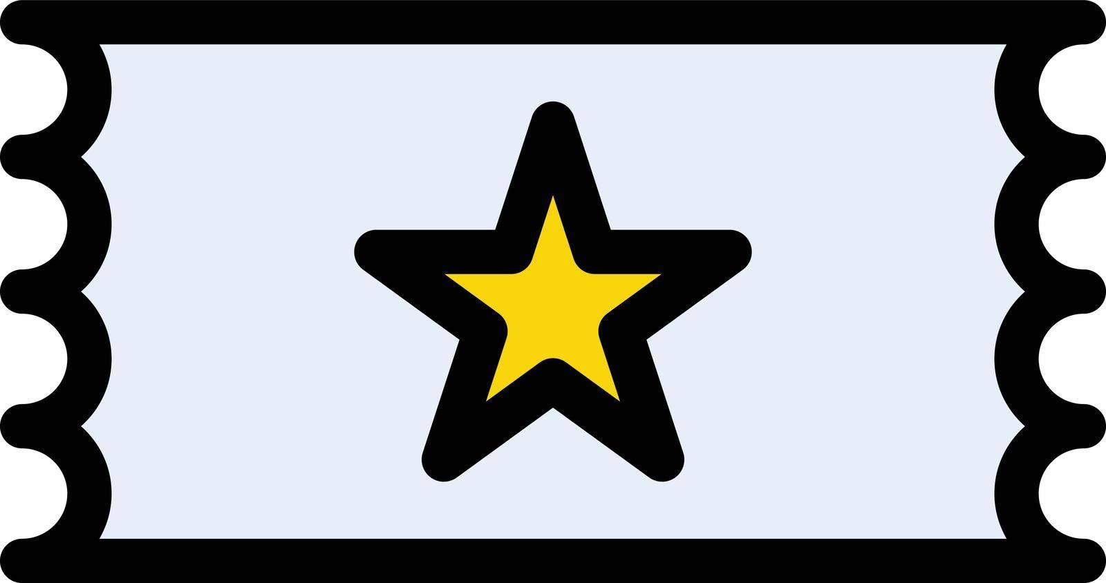 ticket vector line colour icon
