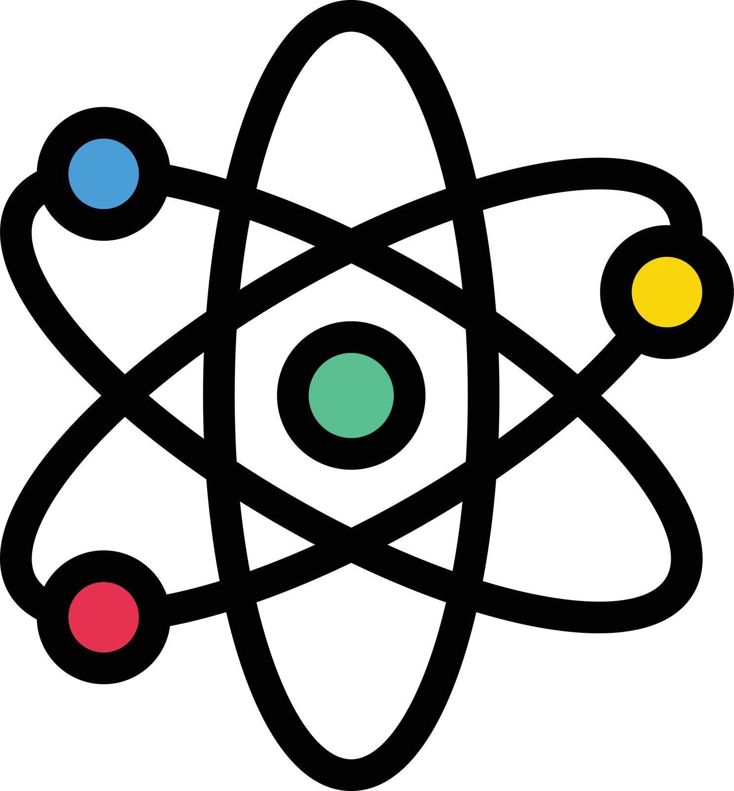 atom vector line colour icon