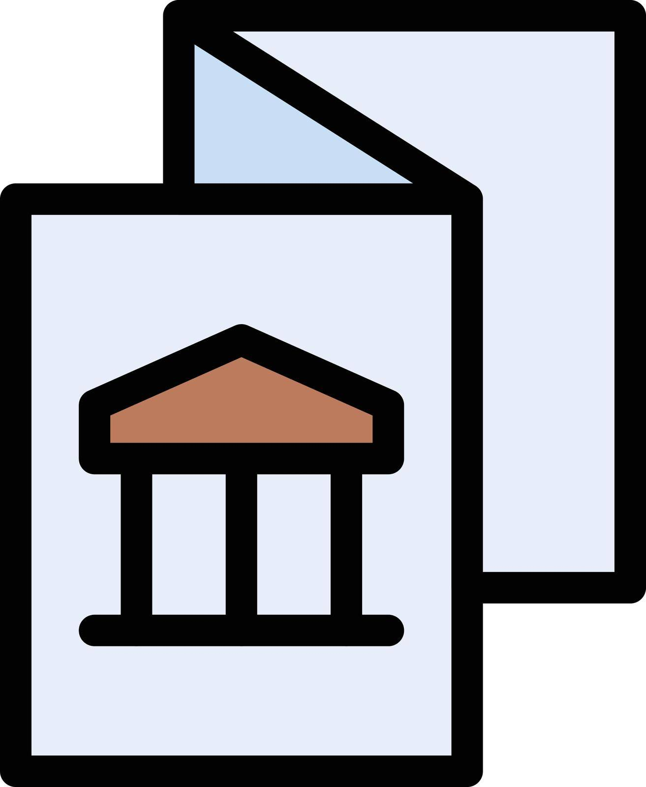 flyer museum vector line colour icon
