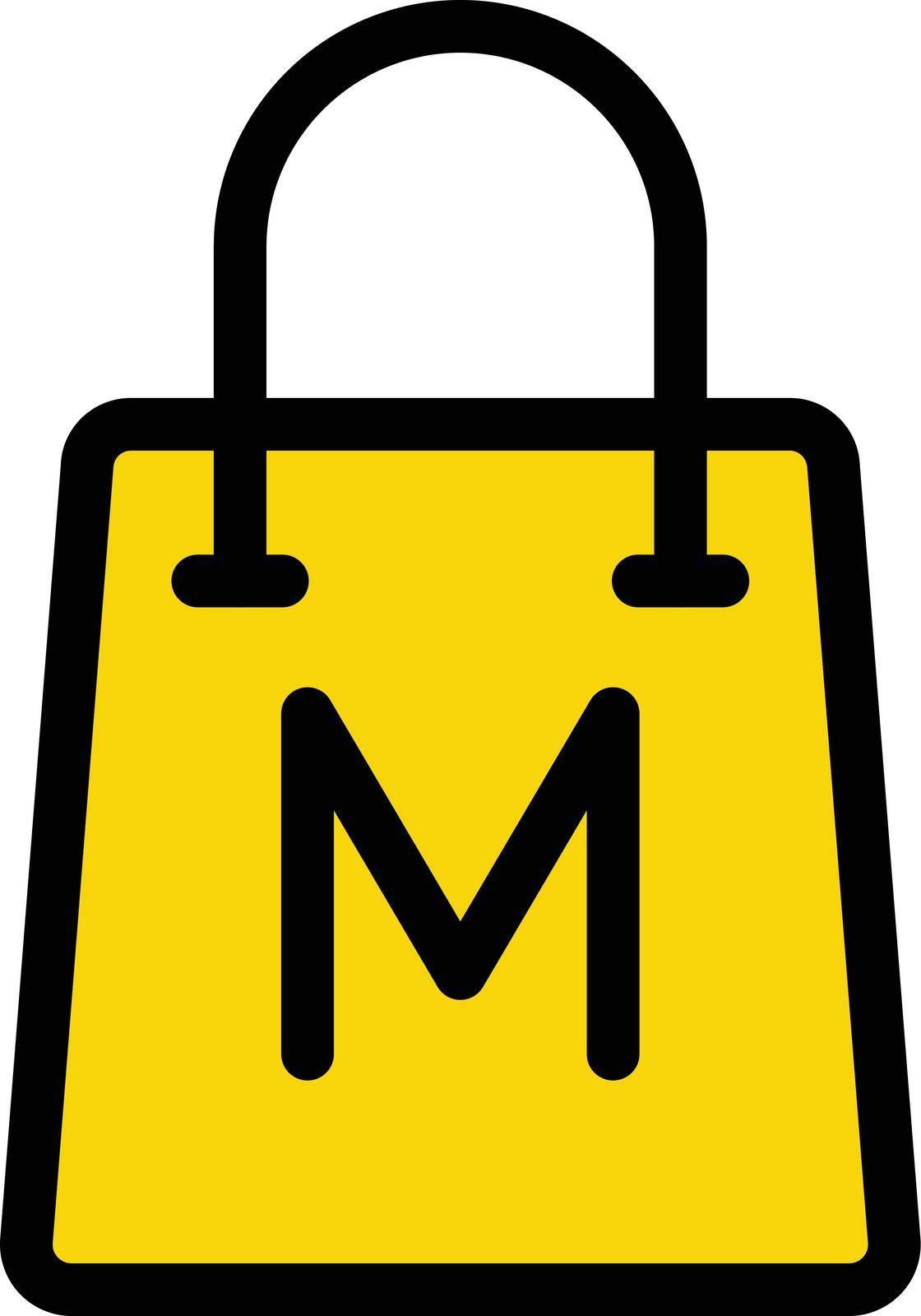 museum bag vector line colour icon