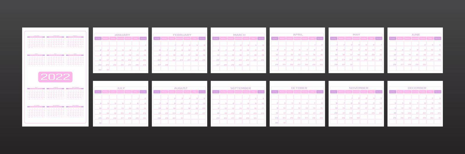 2022 calendar in minimalistic urban trendy style. set of 12 months template daily planner to-do list for every day. rounded streamlined shape, delicate light pink color. week starts on Sunday.