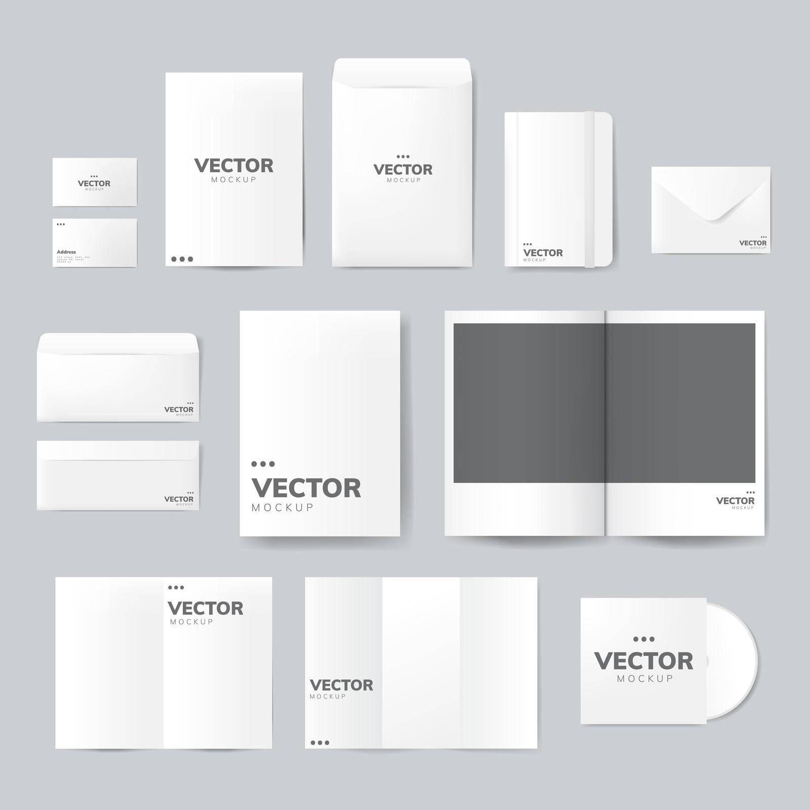 Set of printing material designs mockup vector