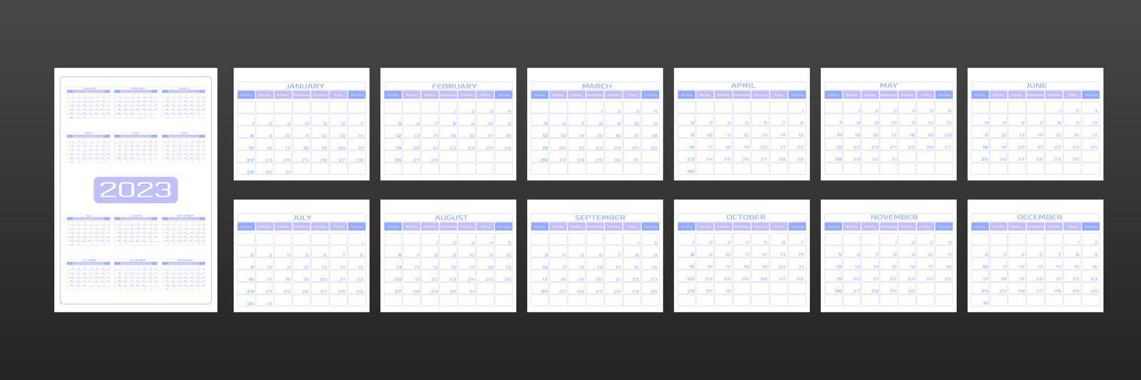 2023 calendar in minimalistic urban trendy style. set of 12 months template daily planner to-do list for every day. rounded streamlined shape, delicate light lavender purple color. week starts on Sunday.