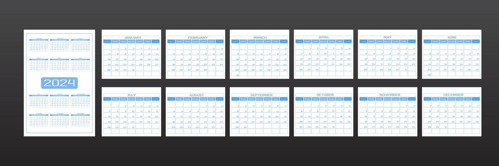 2024 calendar in minimalistic urban trendy style. set of 12 months template daily planner to-do list for every day. rounded streamlined shape, delicate light  blue color. week starts on Sunday.