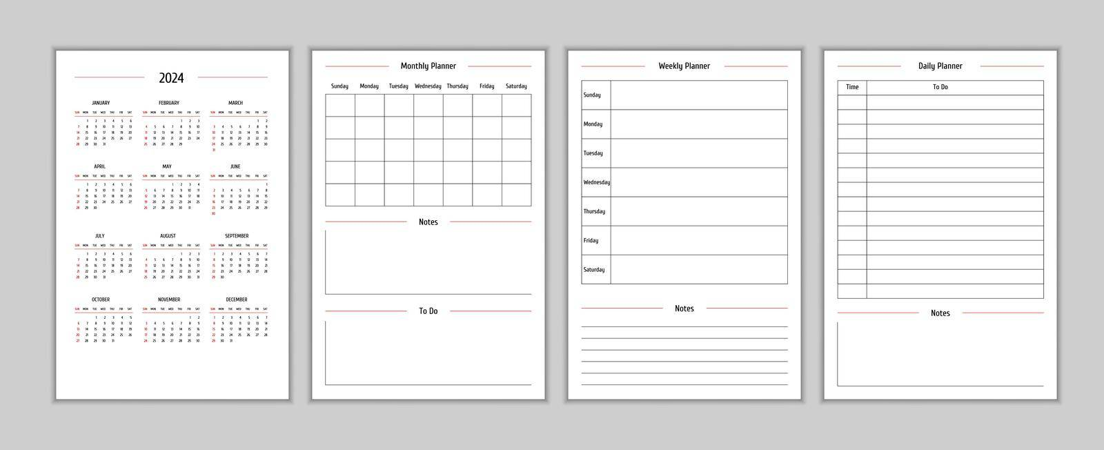 2024 calendar and daily weekly monthly personal planner diary template in classic strict style. Monthly calendar individual schedule minimalism restrained design for business notebook. Week starts on sunday