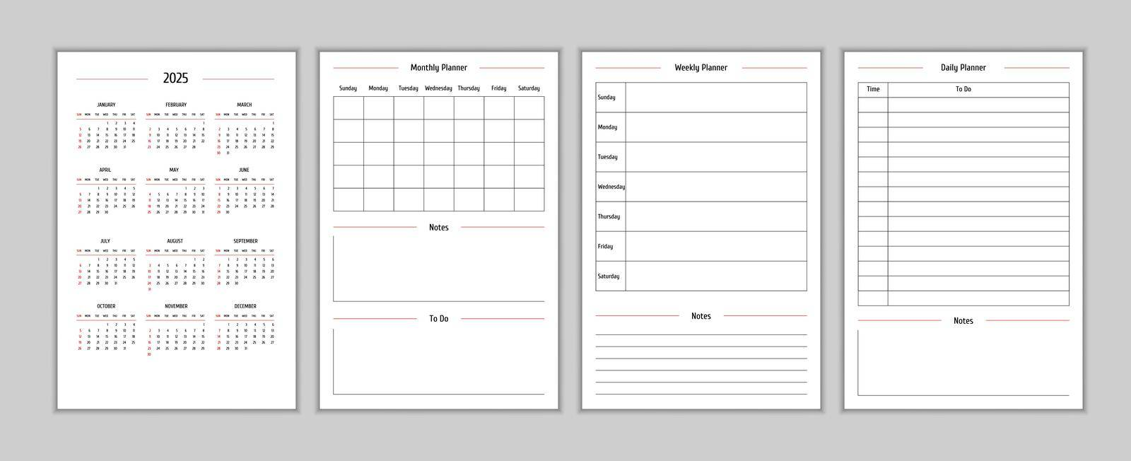 2025 calendar and daily weekly monthly personal planner diary template in classic strict style. Monthly calendar individual schedule minimalism restrained design for business notebook. Week starts on sunday