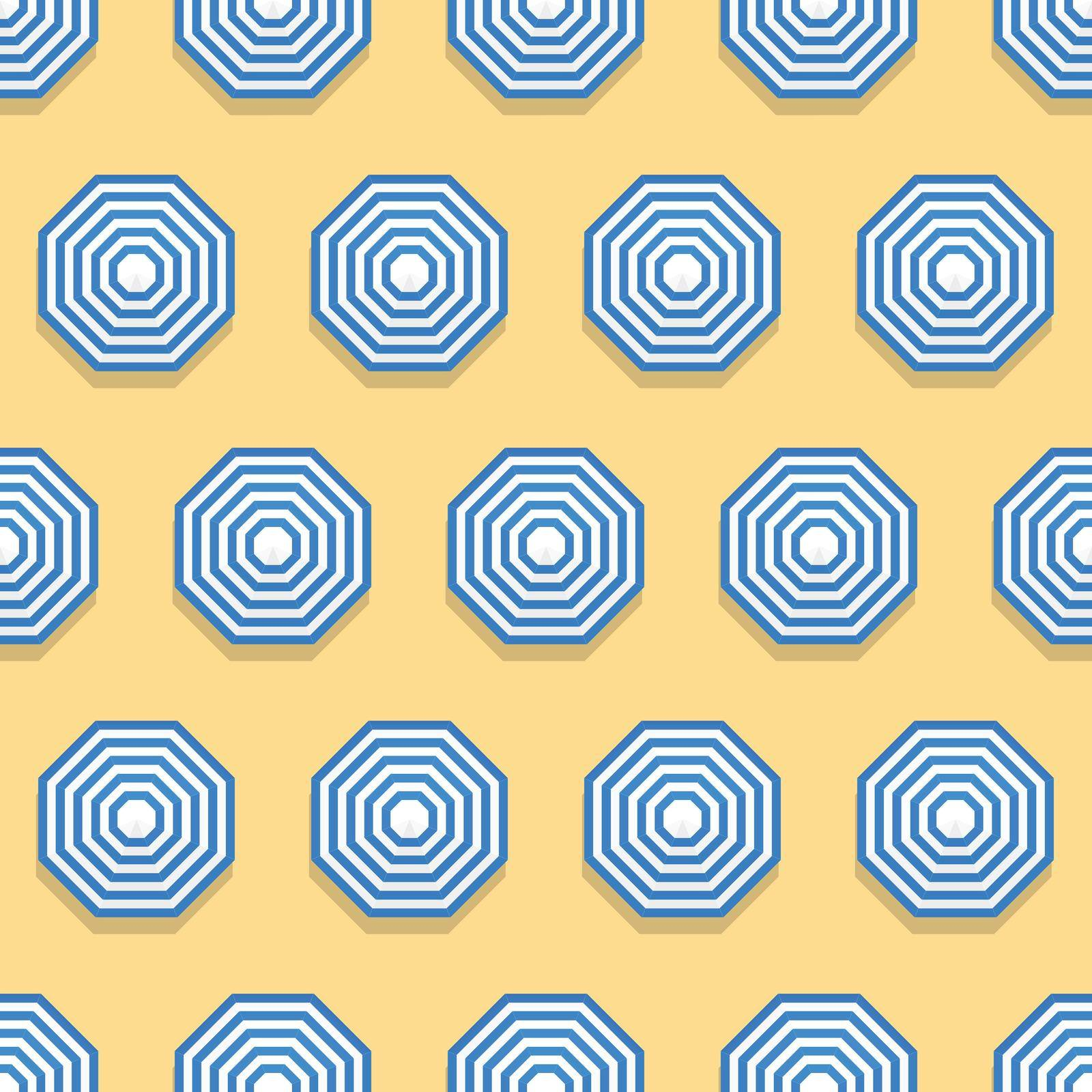Summer seamless pattern with parasols from above, on beach sand.
