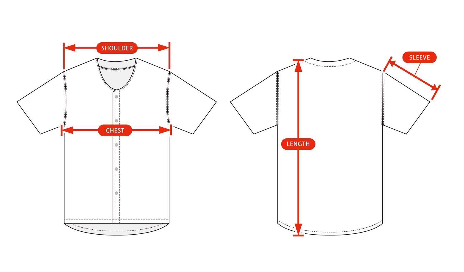 Clothing size chart vector illustration ( Baseball shirt )