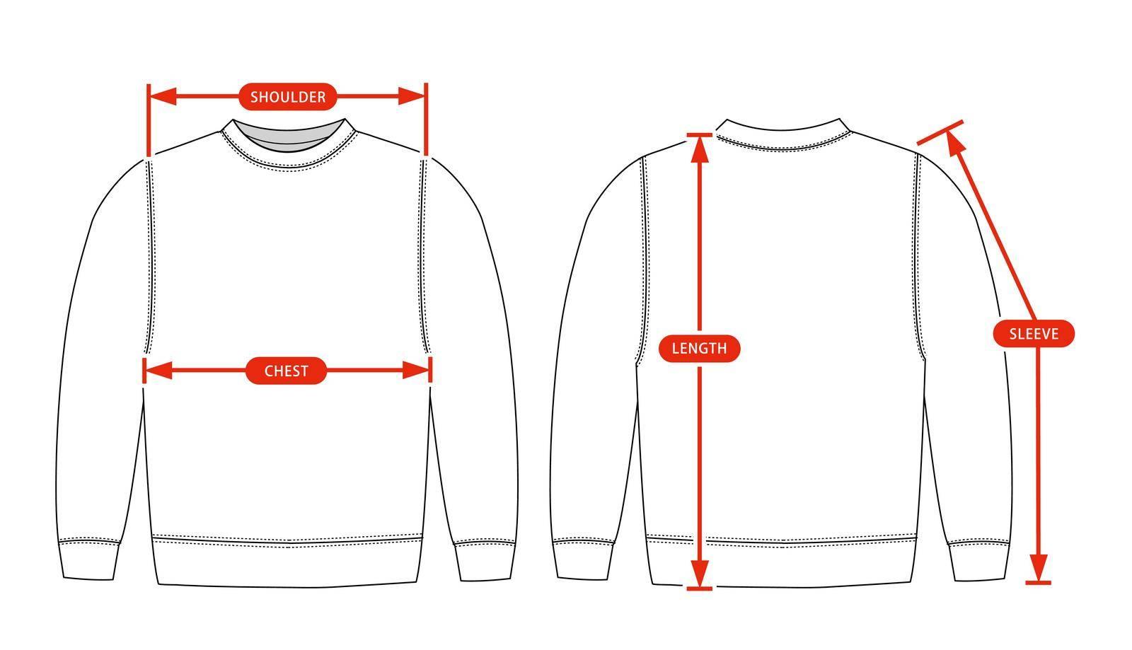 Clothing size chart vector illustration ( Sweat shirt )