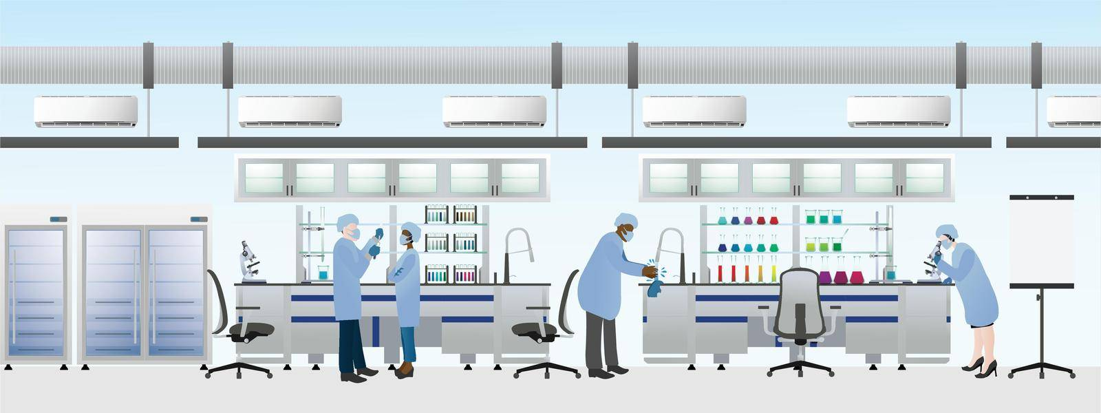 Scientists team wearing laboratory suit for making chemical experiments, Science lab flat vector illustration.