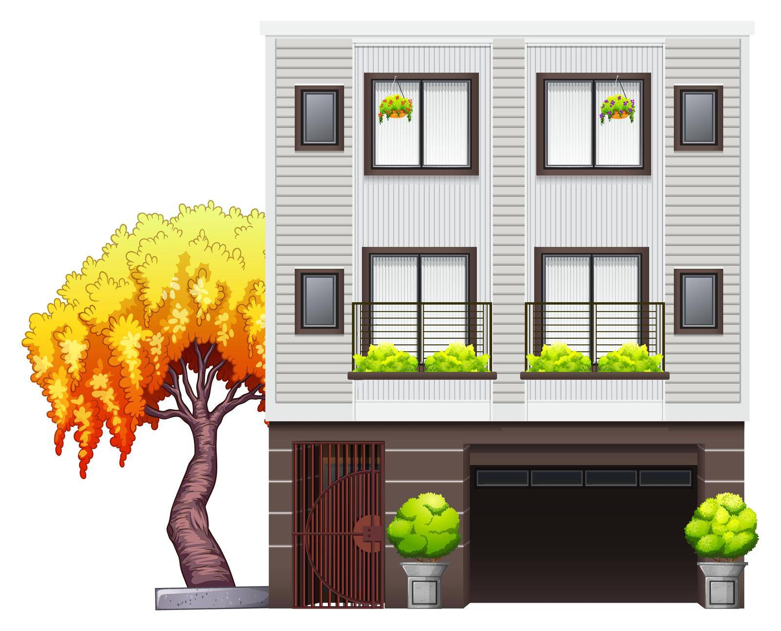A modern house on a white background