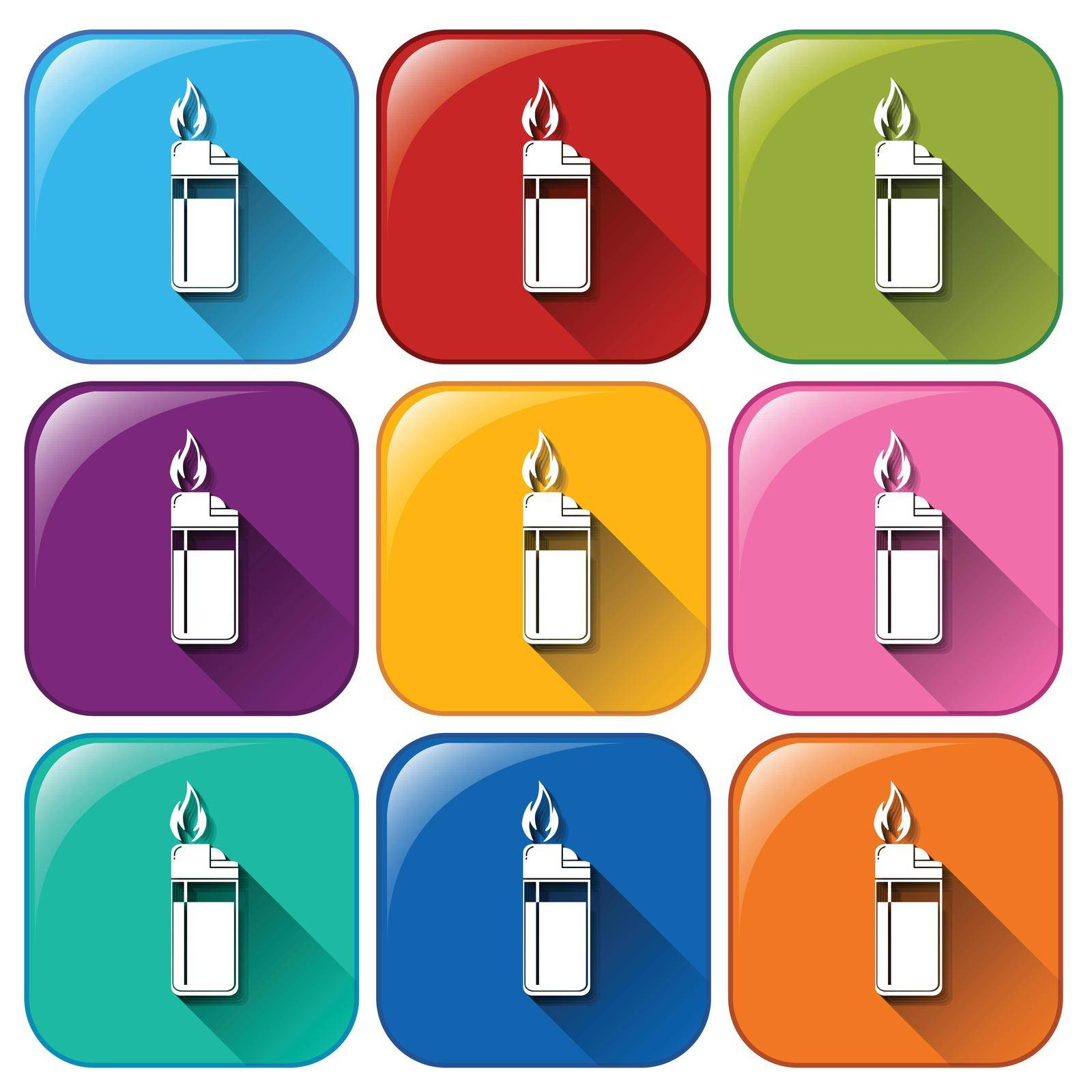 Illustration of the rounded icon with lighters on a white background