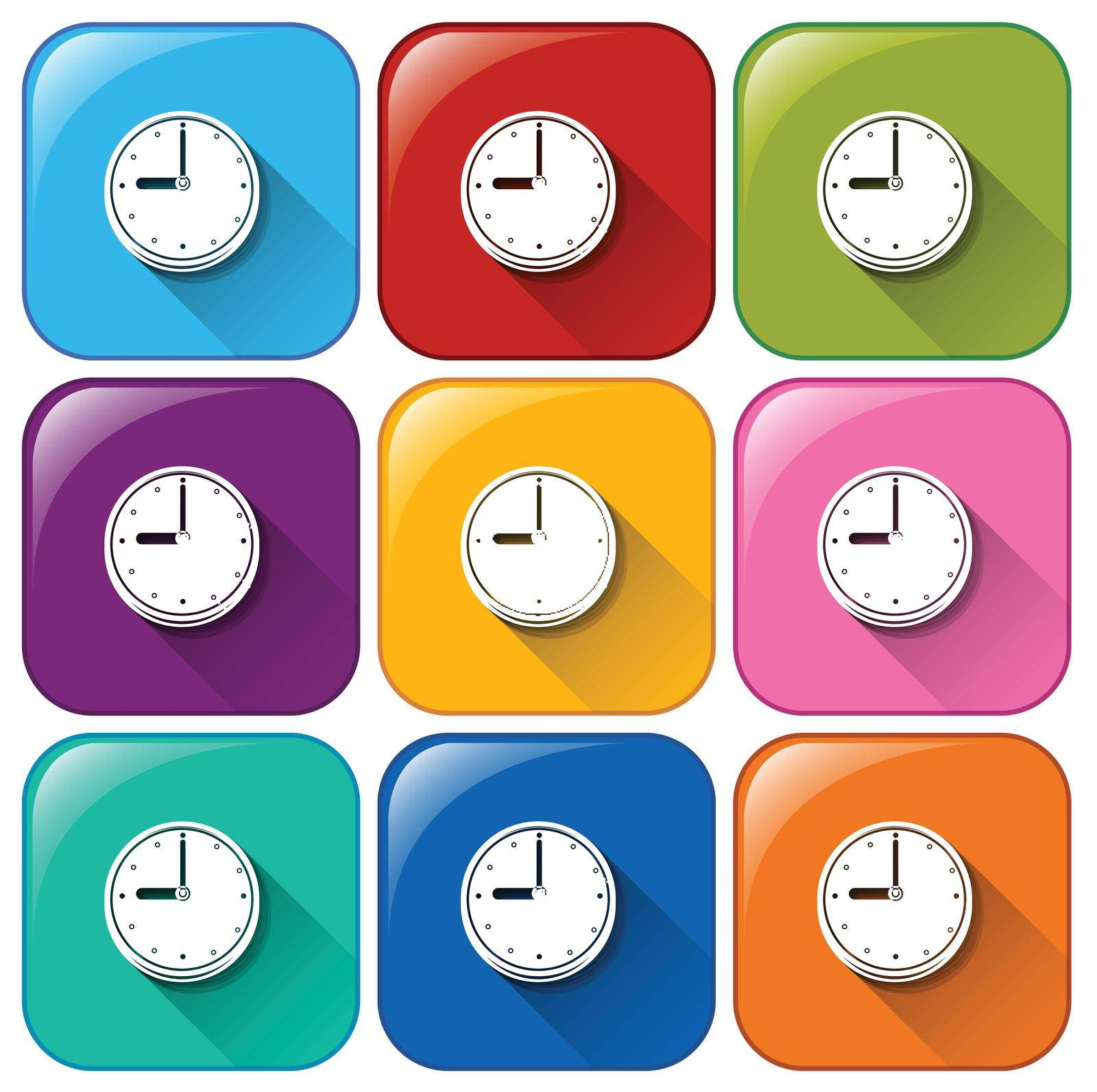 Rounded buttons with wallclocks on a white background