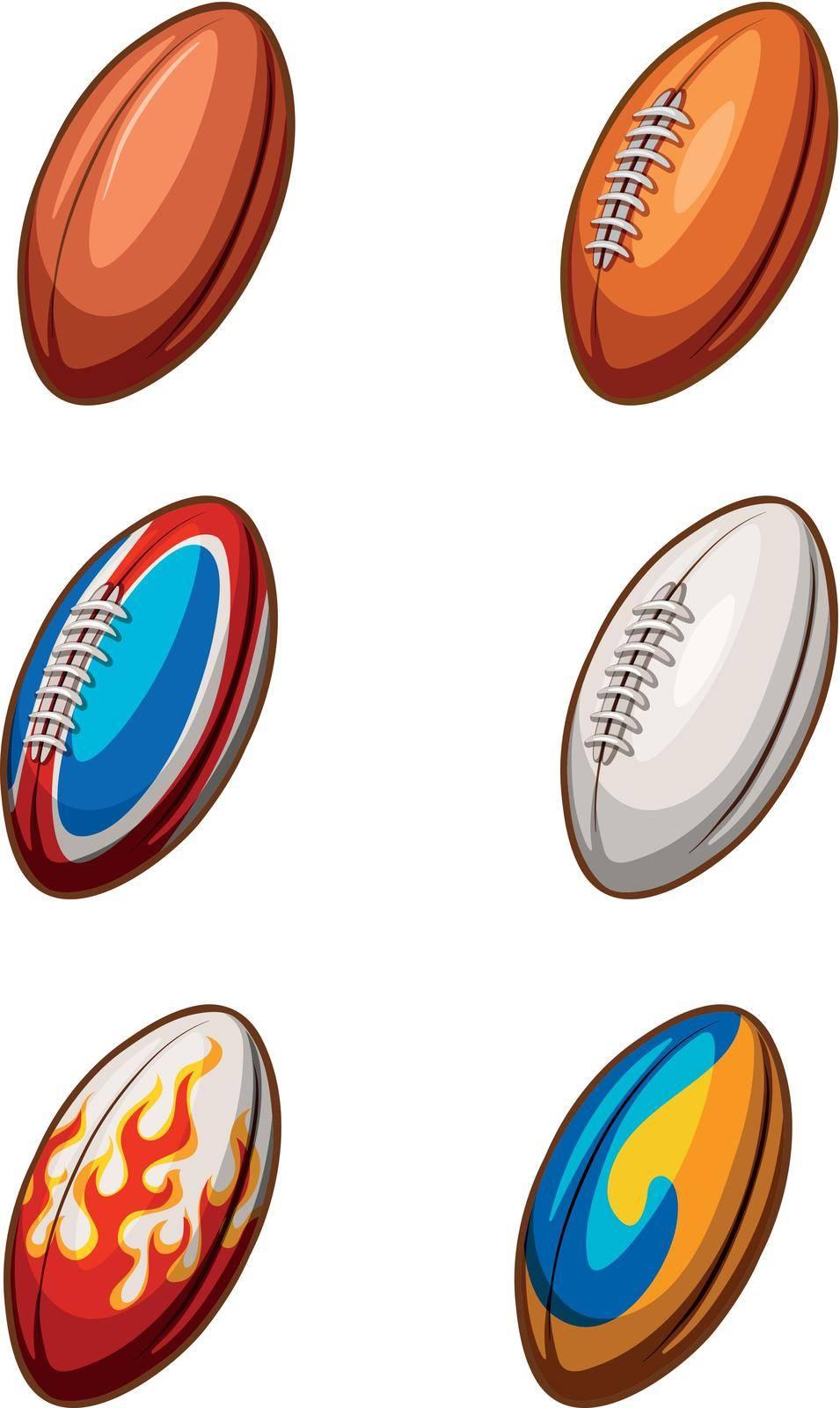 Illustration of different design of football