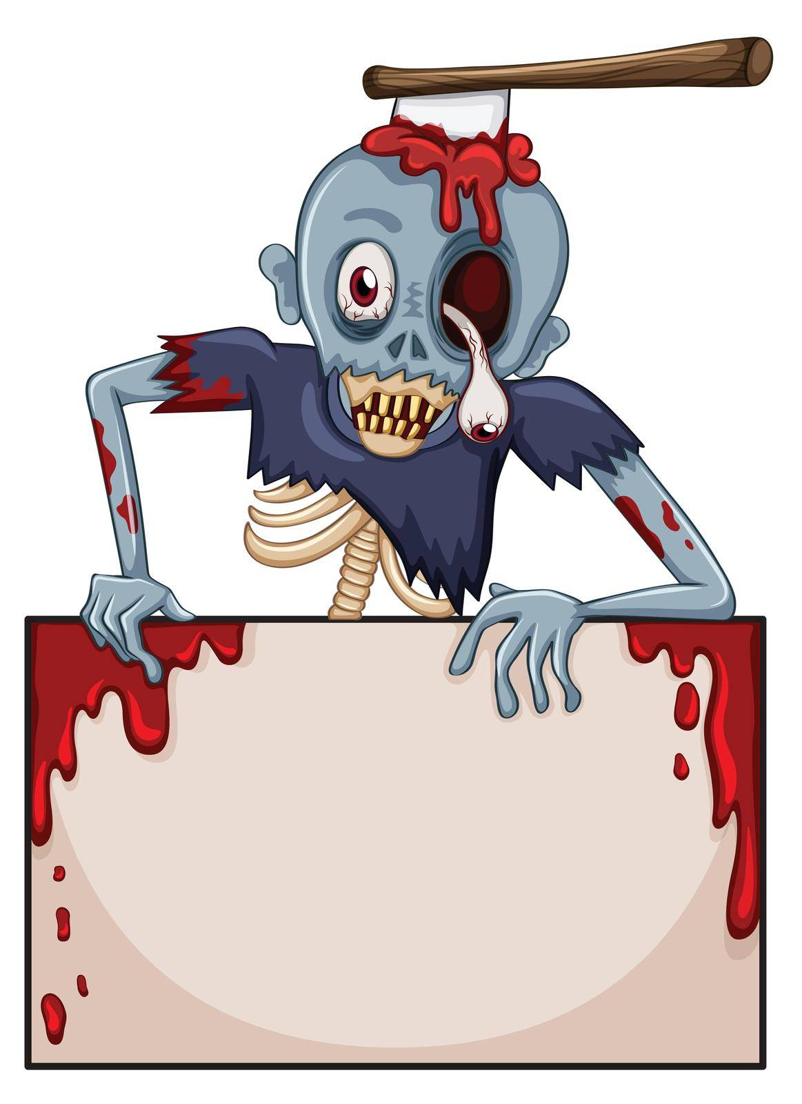 Illustration of a zombie with an empty signboard on a white background