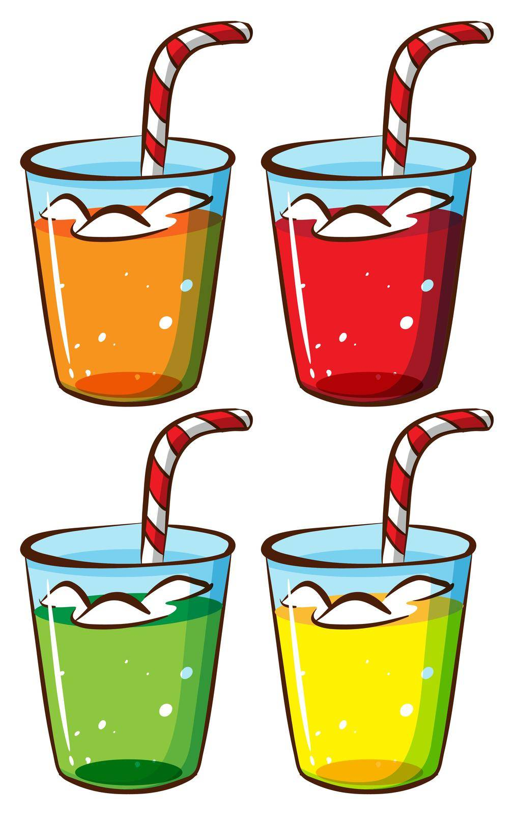 A sketch of the glasses with juice on a white background
