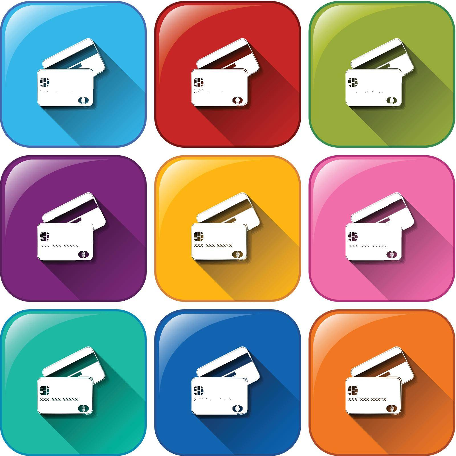 Illustration of the rounded icons with cards on a white background