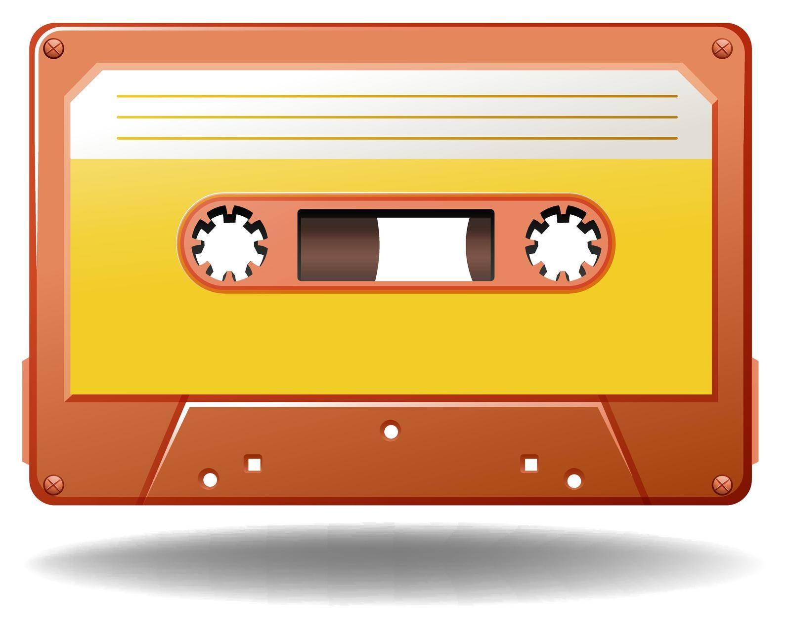 Single tape cassette in orange color