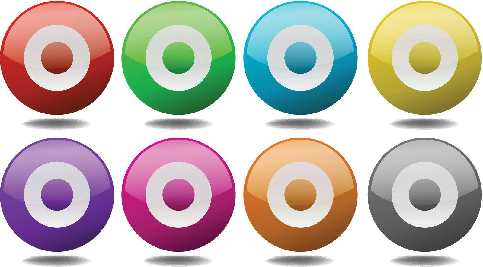 Round targets in eight different colors