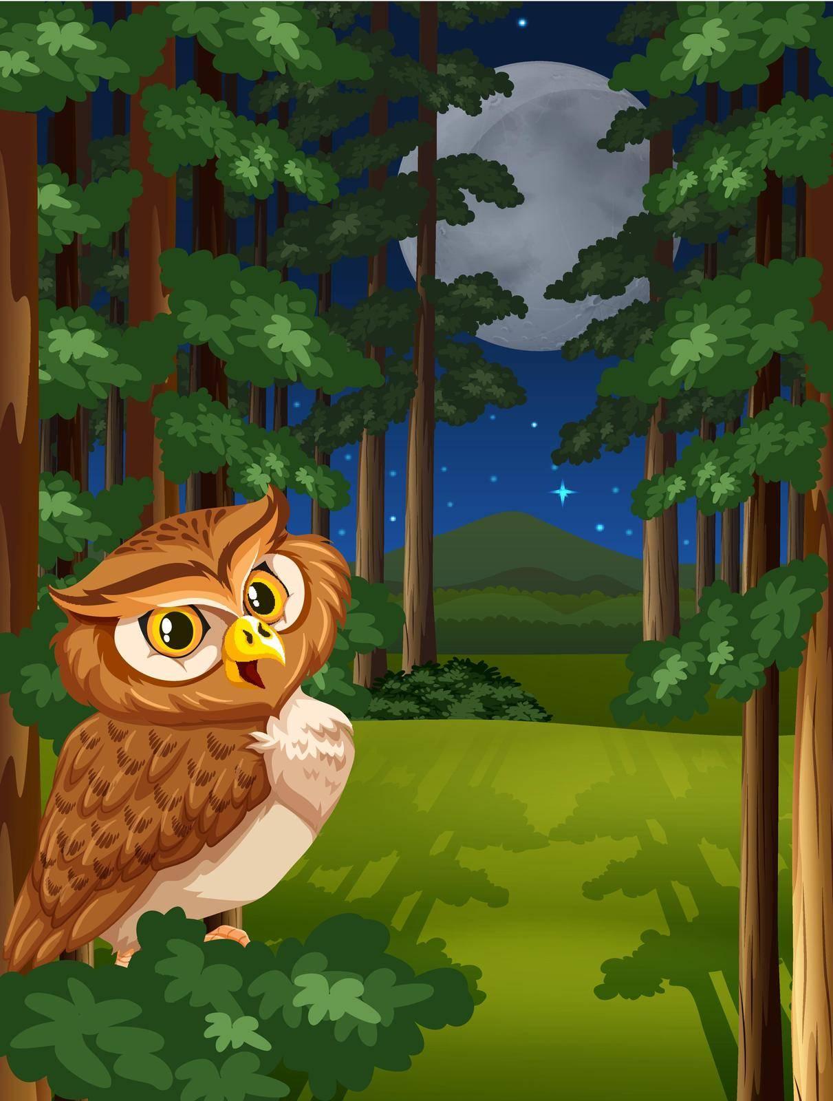 Brown owl sitting on a tree on full moon night