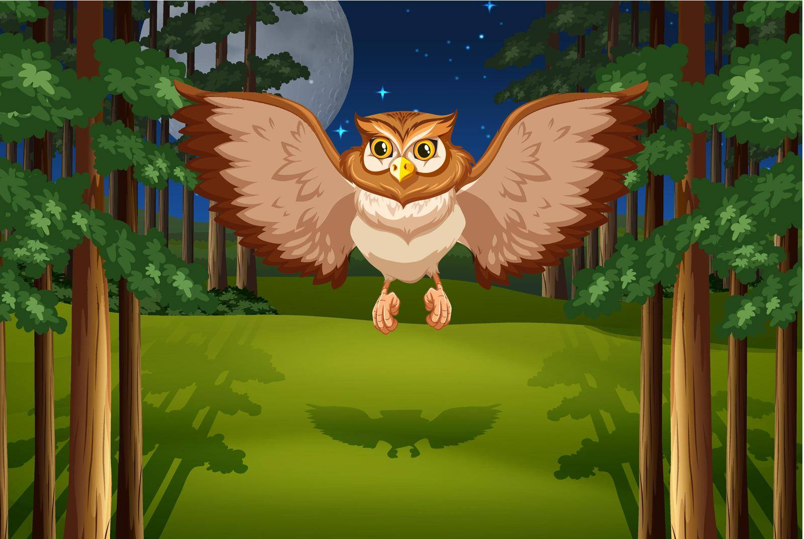 Poster of an owl flying in the jungle under full moon and stars