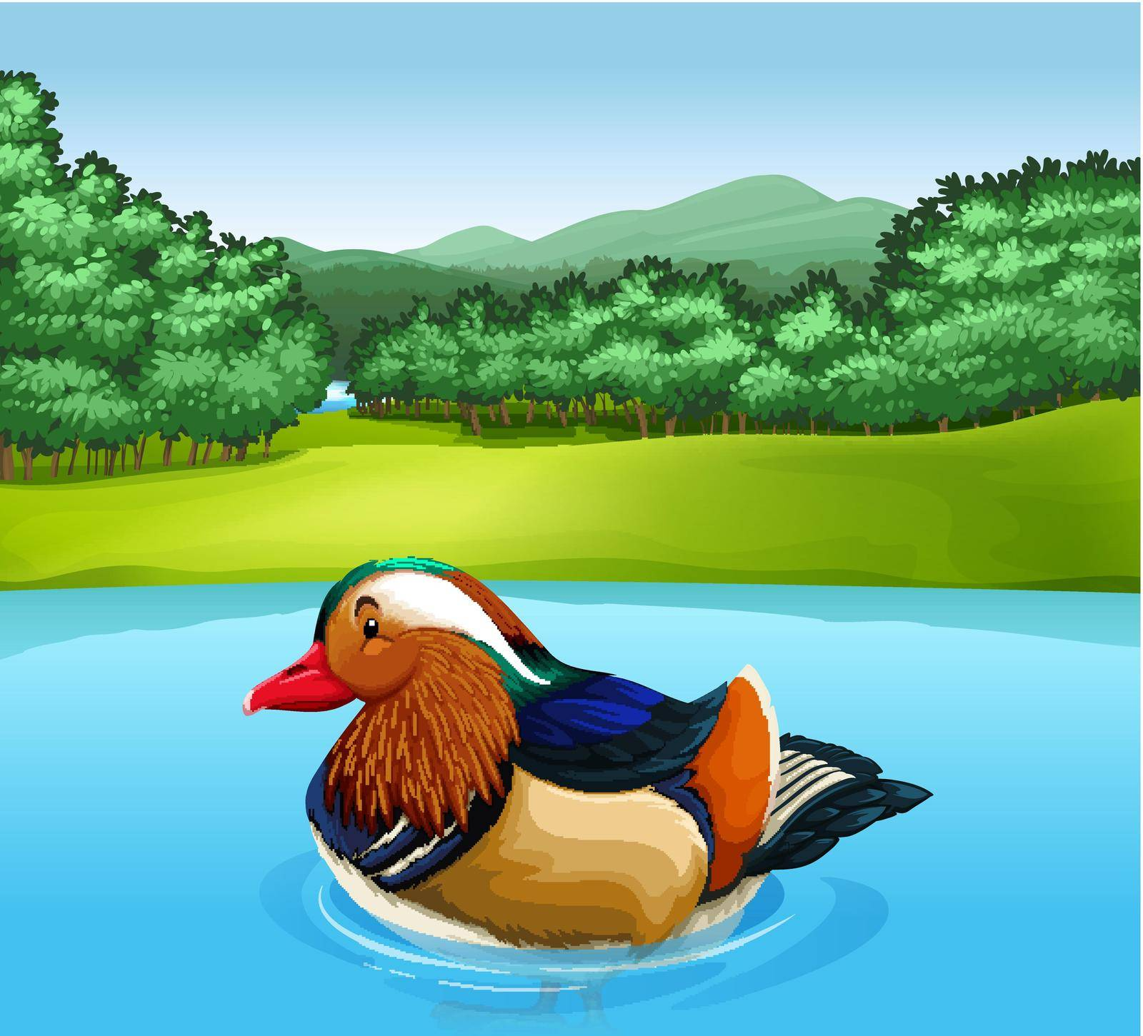 Poster of a Mandarin duck swimming in a river