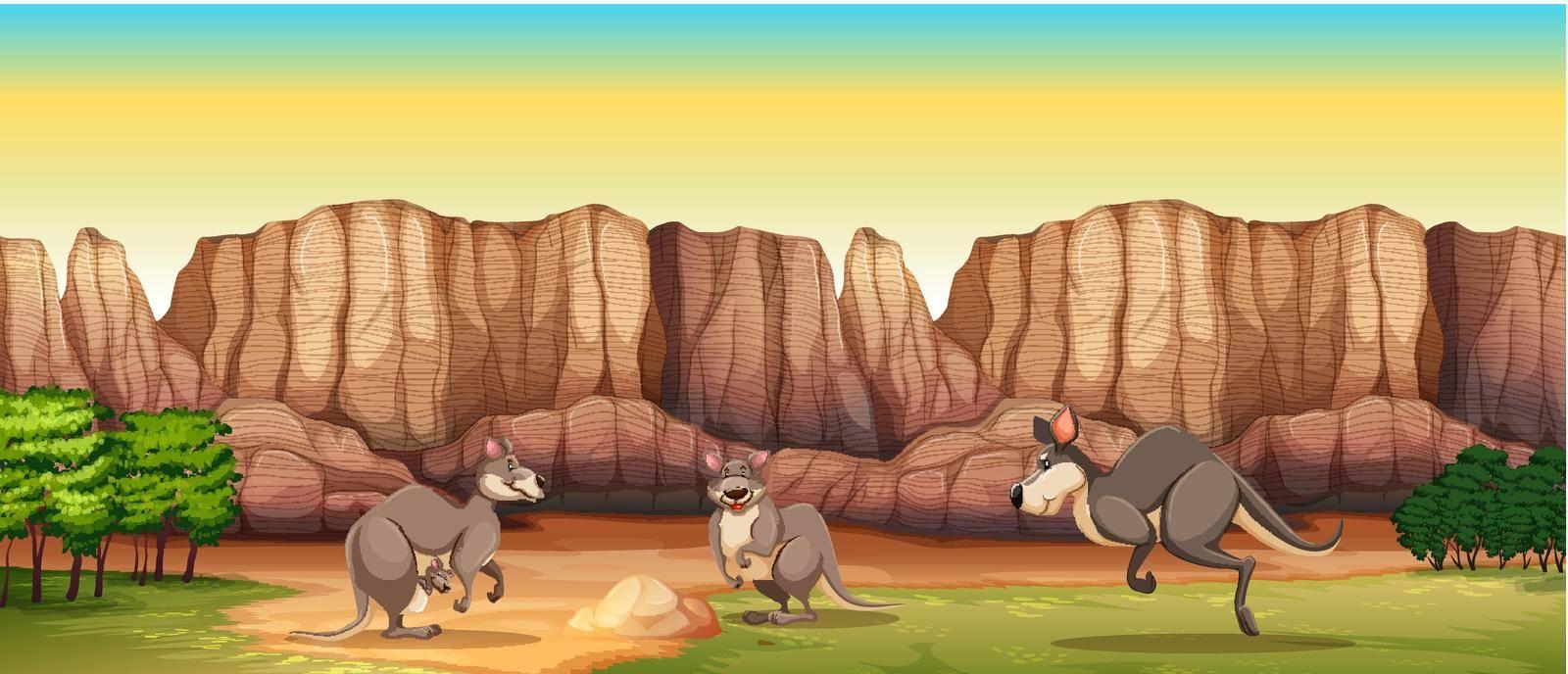 Three kangaroo stading in a field