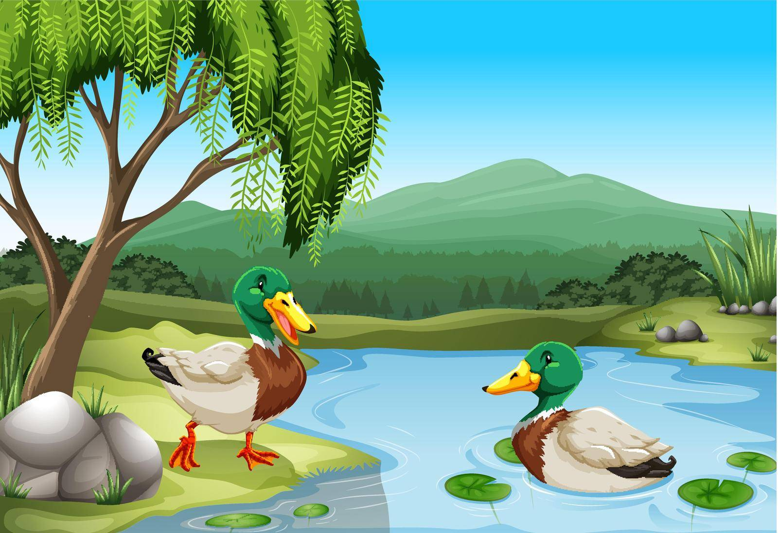 Two ducks relaxing by the pond