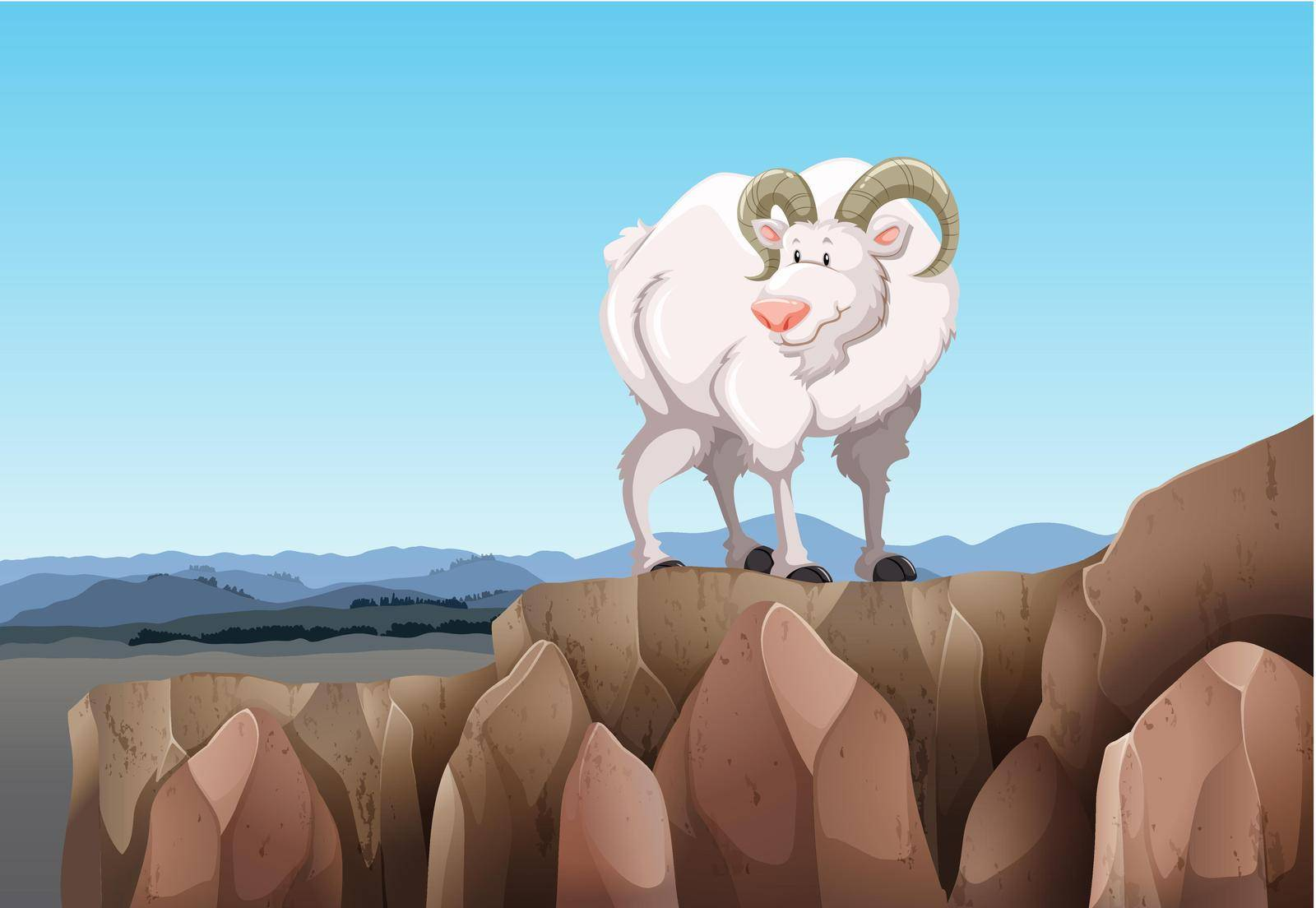 White goat standing on a mountain