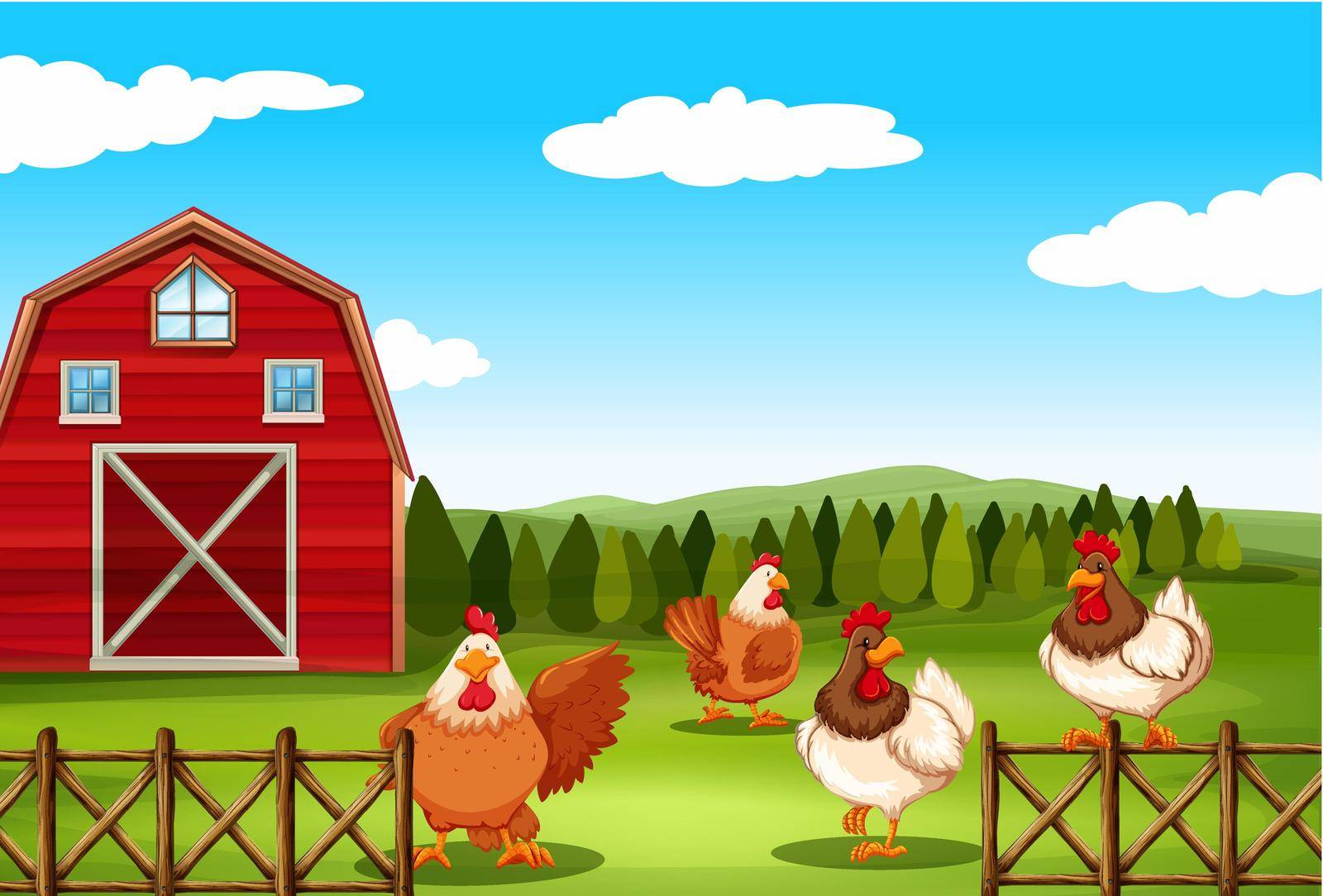Poster of a barn with chickens behind the fence