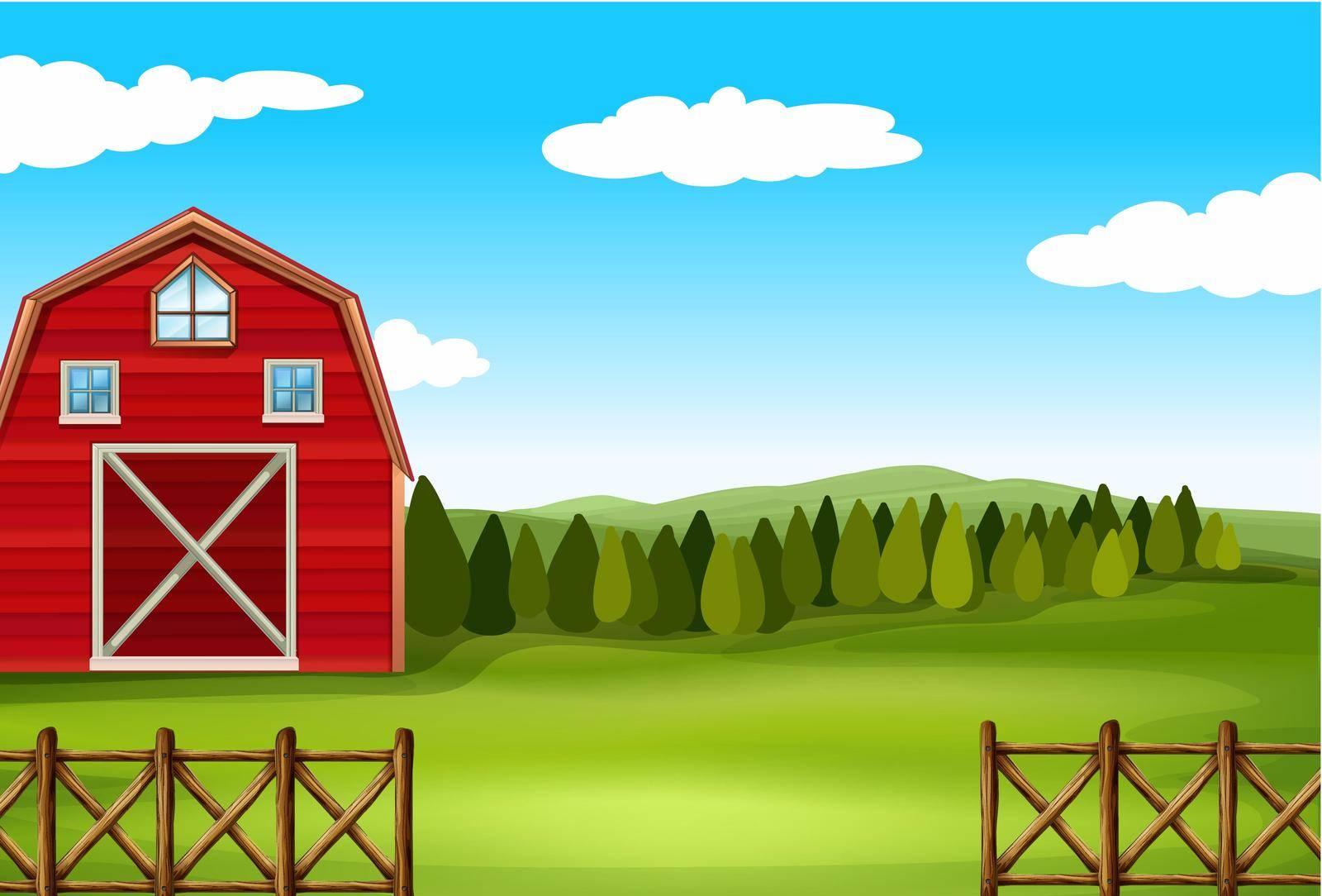Barn on a farm with fence