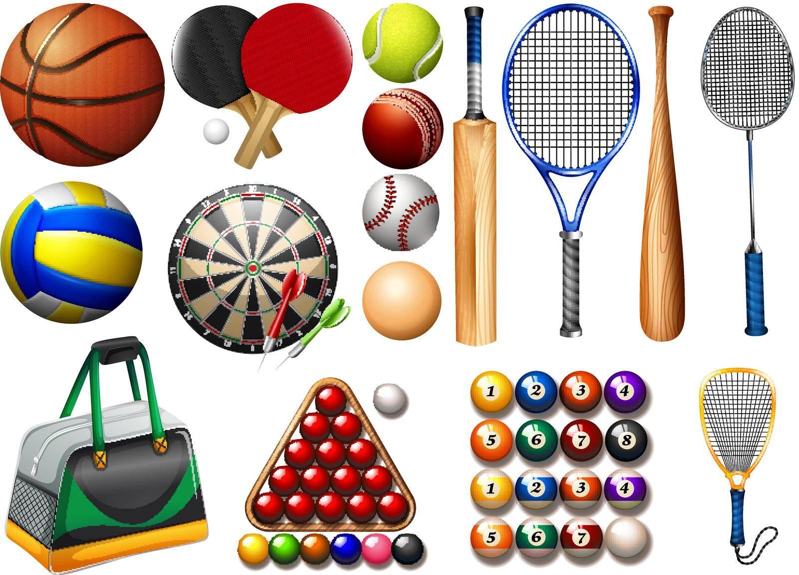 Sports equipment and balls illustration