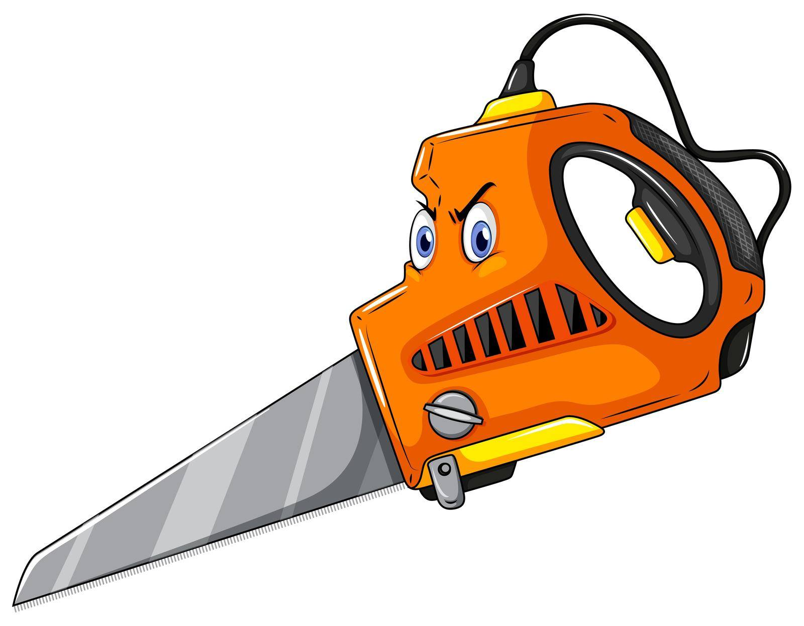 Furious looking saw on white background