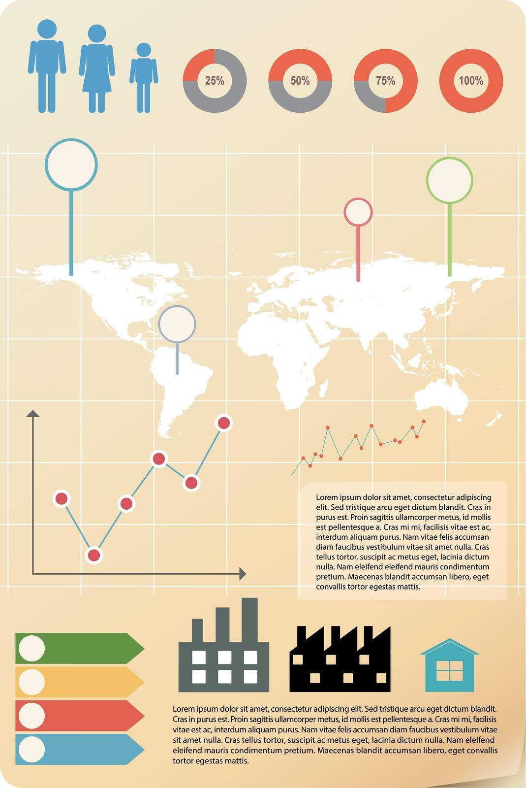 An infographics showing a map with people