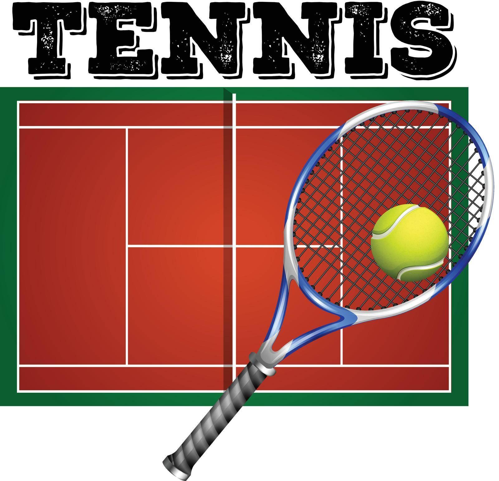 Tennis court and equipment illustration