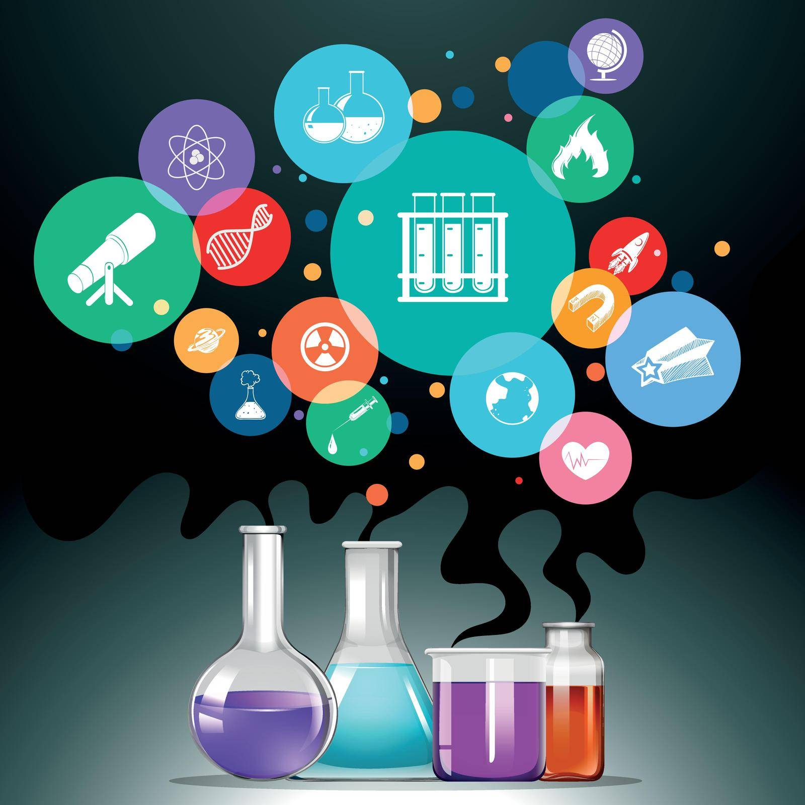 Infographic with science equipment illustration