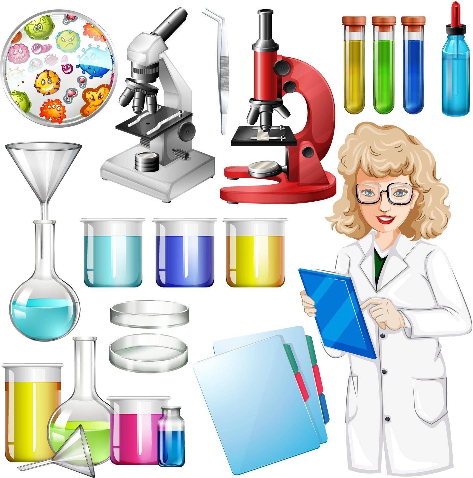 Scientist with science equipment illustration