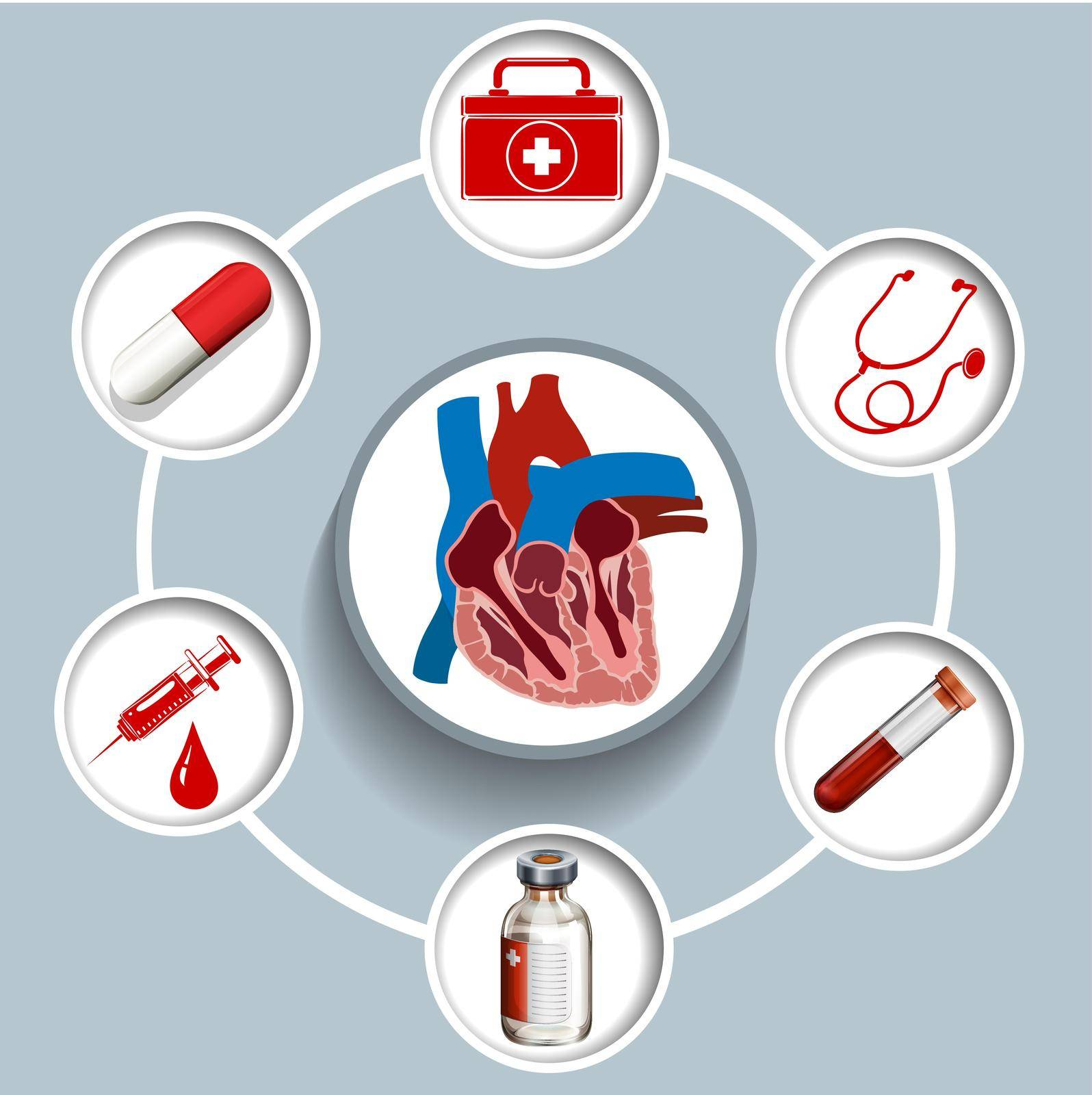 Infographic with medical equipment  illustration