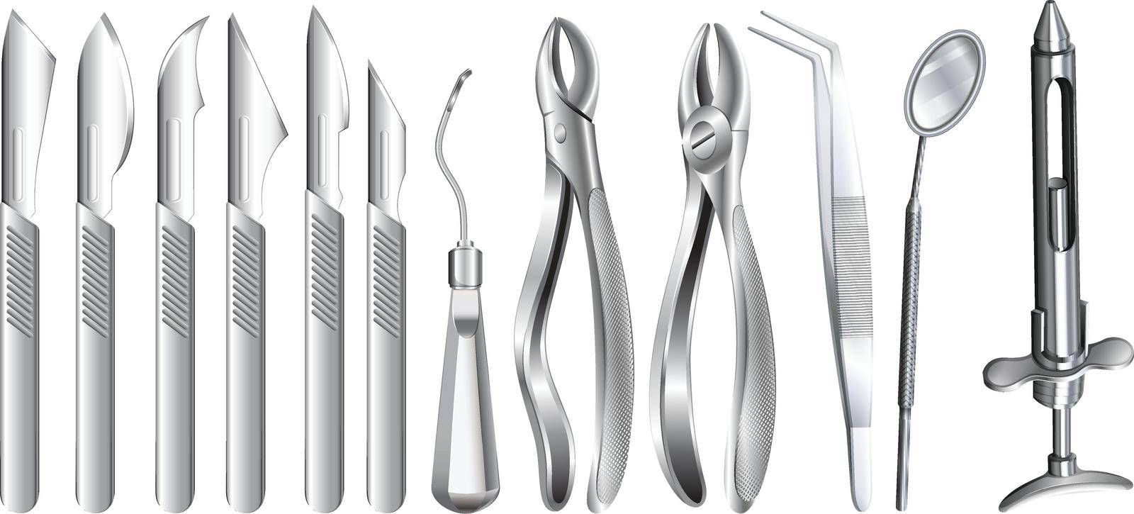 Surgery equipment on white by iimages